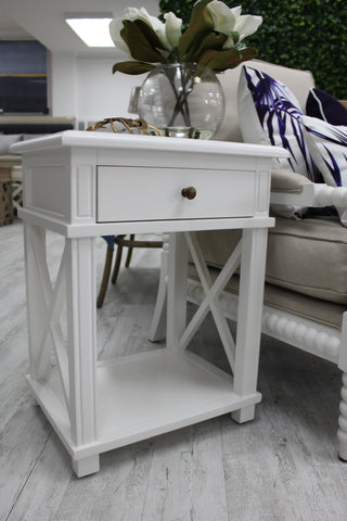 hamptons oak white cross leg bedside