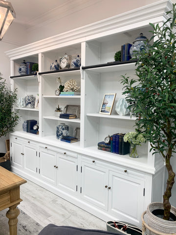 HAMPTONS FULL WALL BOOKCASE WHITE