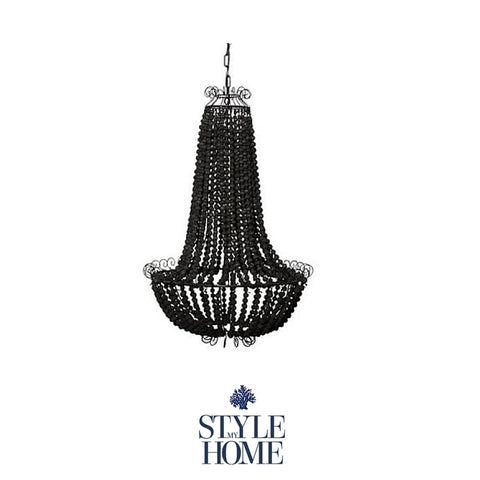Black Beaded Chandelier with Black Iron Detail