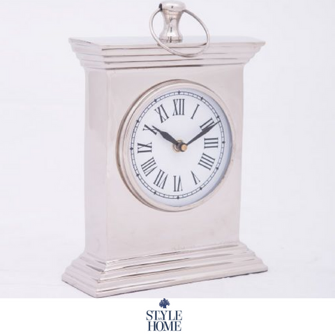 Nickel Plated Table Clock - Large