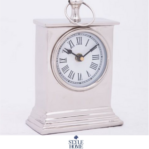 Nickel Plated Table Clock - Small