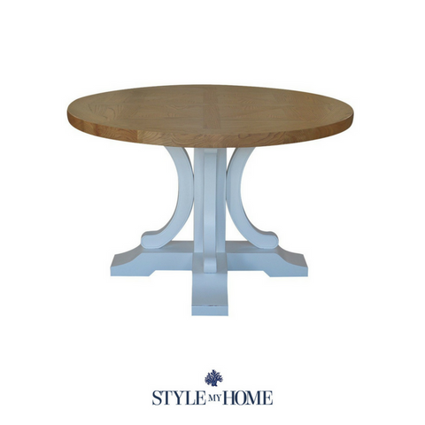 'Jean' Parquet Round Table with white base