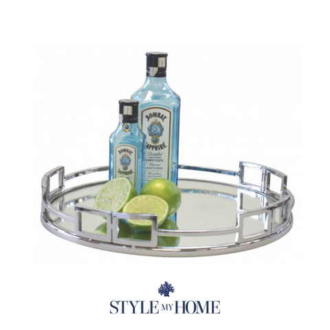 Double Buckle Round Mirror Tray