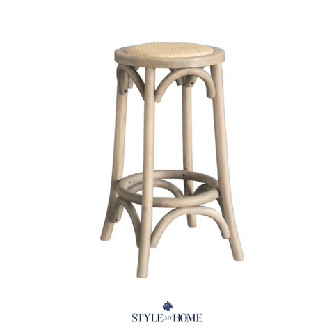 'David' Round Stool Hamptons classic, solid oak, backless stool