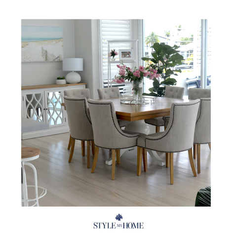 Upholstered linen dining or occasional chair by Style My Home Australia, Oak and linen HamptonsUpholstered linen dining or occasional chair by Style My Home Australia, Oak and linen Hamptons