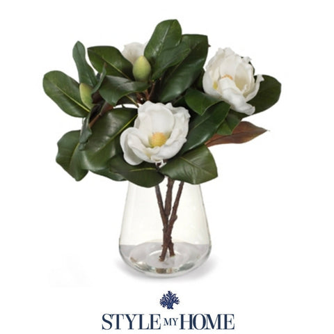 Magnolia Blooms & Foliage in Glass Bowl