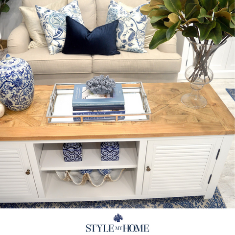 'PALM BEACH' White and Recycled Timber Entertainment Unit