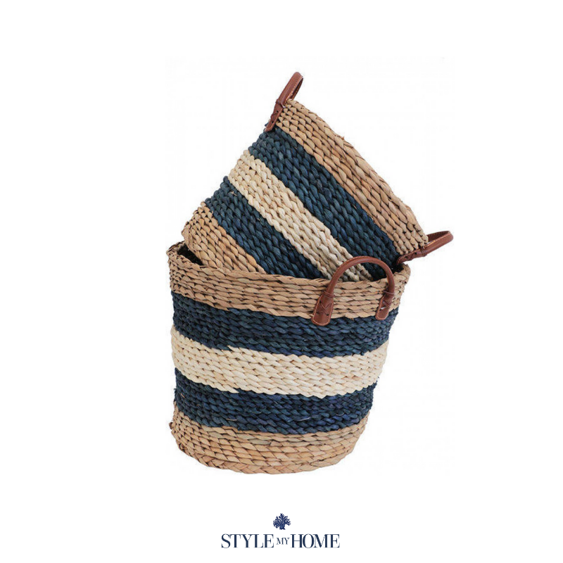 baskets with natural, cream and navy stripes and leather handles