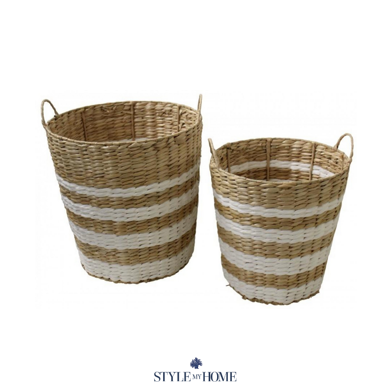 Two baskets, one small size and one large size with natural and white horizontal designs and handles.