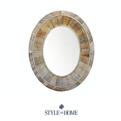 OVAL Recycled Wood Mirror