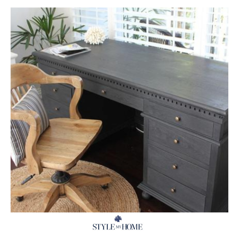 Statement piece black desk with ample storage.  Brass fixtures, hand carved features and moulding. Style my Home Australia