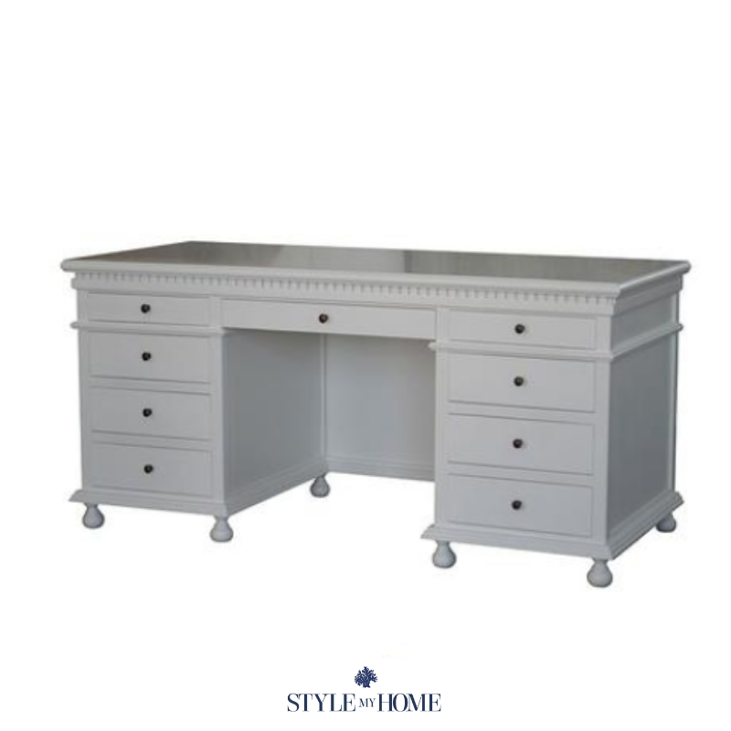 Statement piece desk with ample storage.  Brass fixtures, hand carved features and moulding. Style my Home Australia