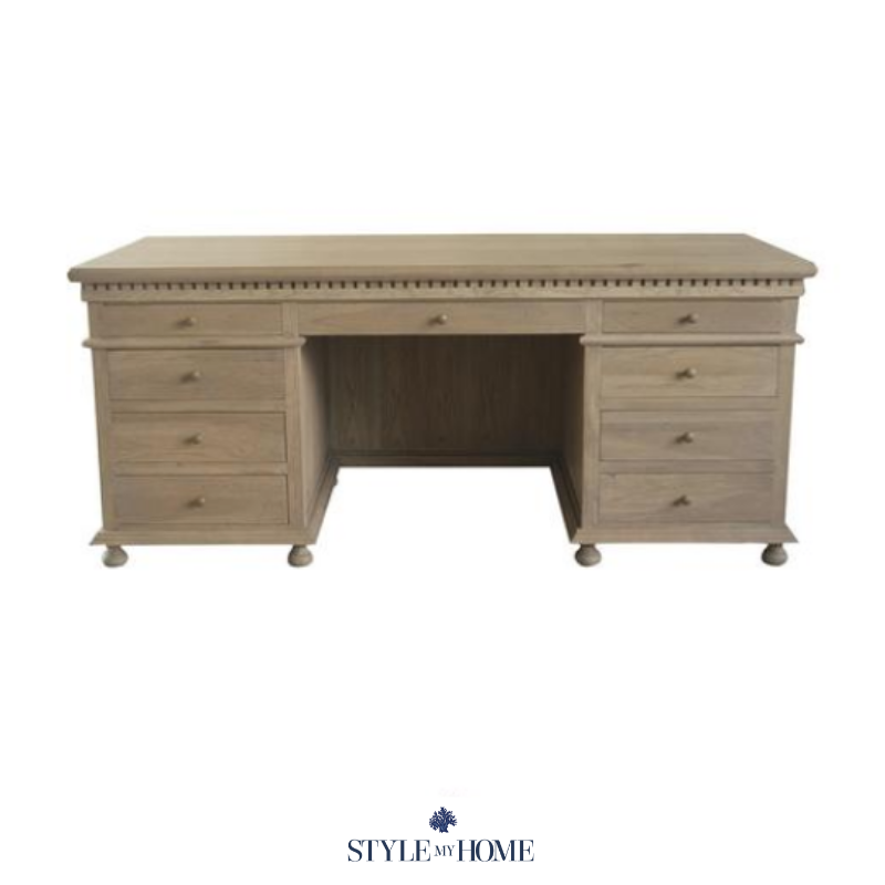 Weathered oak statement piece desk with ample storage.  Brass fixtures, hand carved features and moulding. Style my Home Australia