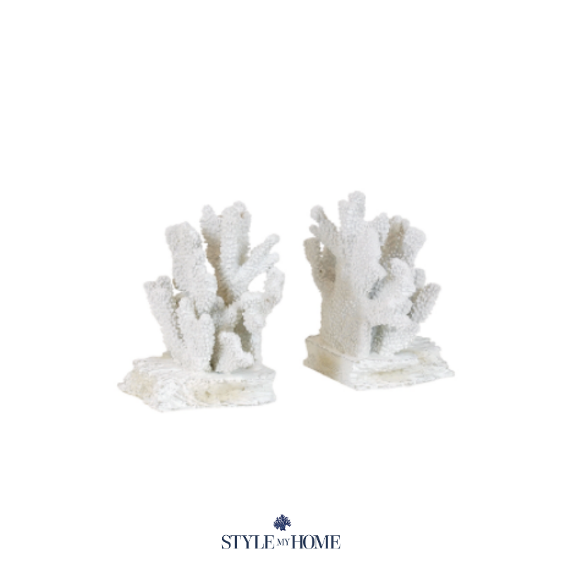white resin coral bookends with chunky base