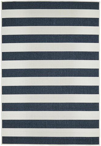 Stripe Navy and White Rug