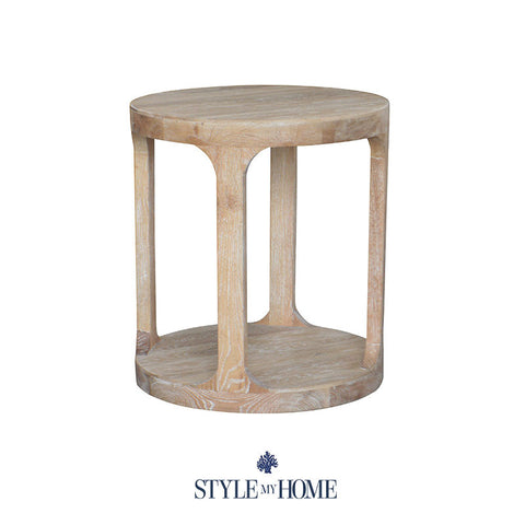 MILLA Whitewash Round Side Table Style My Home Sydney Australia Hamptons French Country Coastal