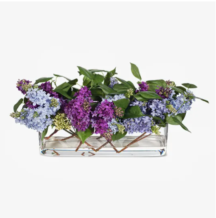Lilac Mix in Rectangle Vase