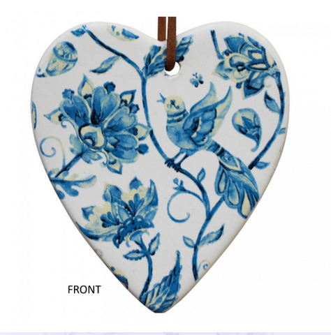 Hanging Heart Vintage Floral Ornament