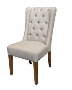 LINDA Upholstered Natural Linen Wing Dining Chair by Style My Home Sydney Australia Hamptons Country Coastal tufted back rest