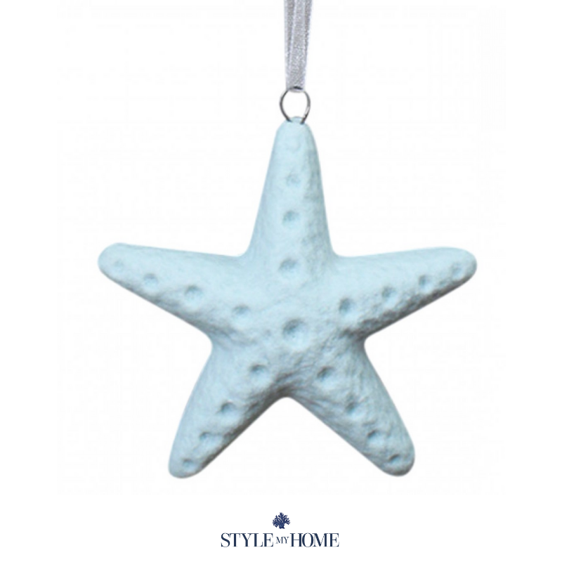 Hanging starfish in blue seafoam tone