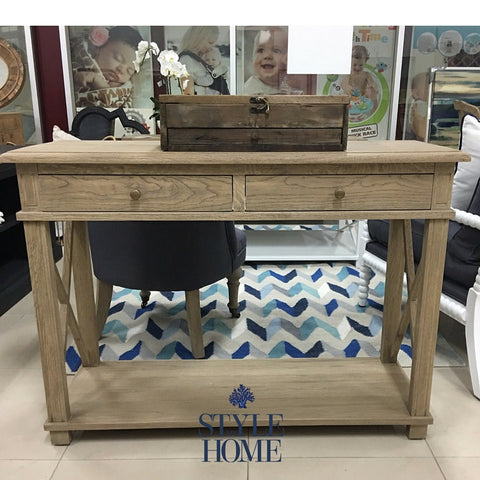 South Beach 2 Drawer Cross Leg Console Style My Home