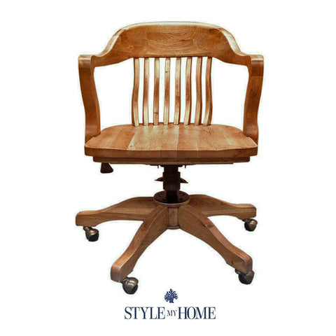 CAPTAINS Natural Oak Office Chair by Style My Home Sydney Australia Hamptons Country