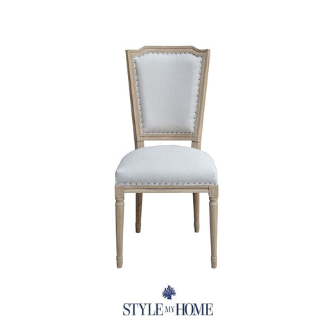 GINA Upholstered Linen & Oak Dining Chair Style My Home Australia Sydney Hamptons Country