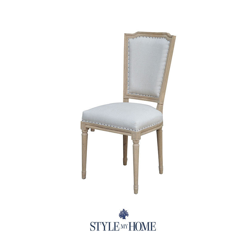 39 gina 39 upholstered linen oak dining chair style my home for Upholstered linen dining chairs