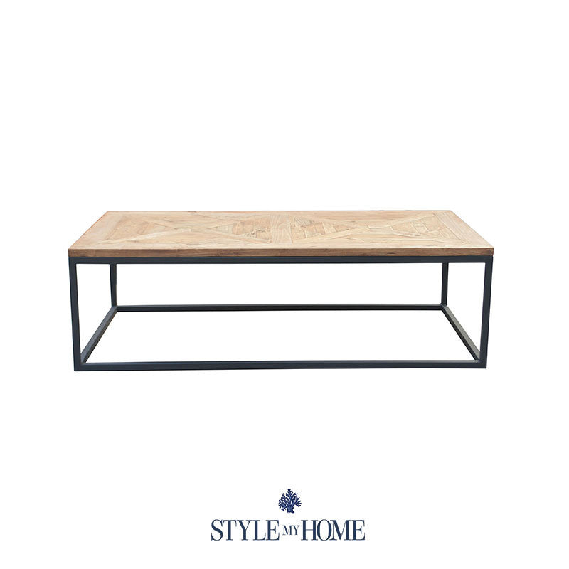FRANKIE Parquet Wood & Metal Rectangle Coffee Table By