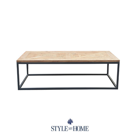 'FRANKIE' Parquet Wood & Metal Rectangle Coffee Table by Style My Home Australia