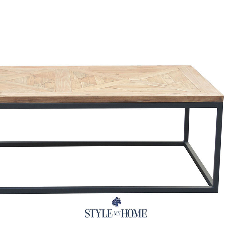 Parquet Reclaimed Wood Metal Rectangular Coffee Table: FRANKIE Parquet Wood & Metal Rectangle Coffee Table By