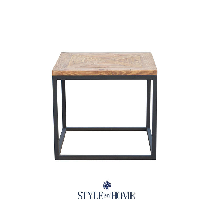 Retro Style Coffee Table Australia: 'FRANKIE' Parquet Wood & Metal Square Side Table By Style