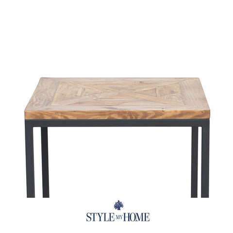 'FRANKIE' Parquet Wood & Metal Side Table by Style My Home Australia