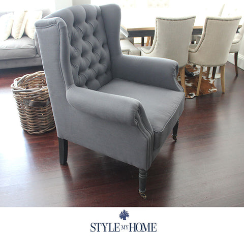 HARRIET Charcoal Linen Chesterfield Arm Chair by Style My Home Australia Sydney Hamptons