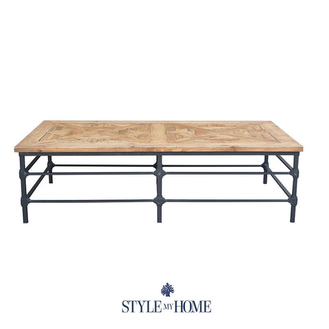 'JAKE' Parquet Wood & Metal Rectangle Coffee Table by Style My Home Australia