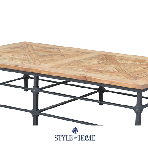 JAKE Parquet Wood & Metal Rectangle Coffee Table by Style My Home Australia Sydney Industrial