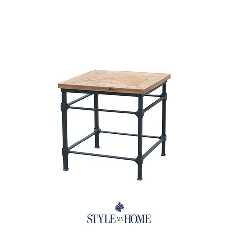 'JAKE' Parquet Wood & Metal Rectangle Side Table by Style My Home Australia