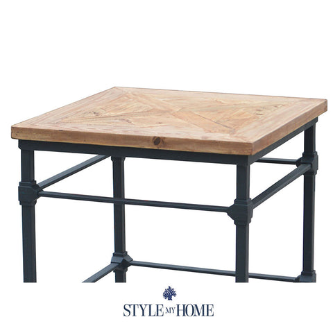 ... Parquet Wood & Metal Rectangle Side Table by Style My Home Australia