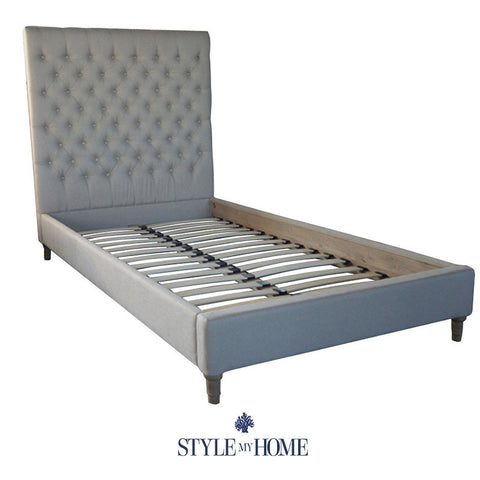 LIAM Upholstered Linen Bed Frame Style My Home Sydney Australia Coastal Hamptons Country