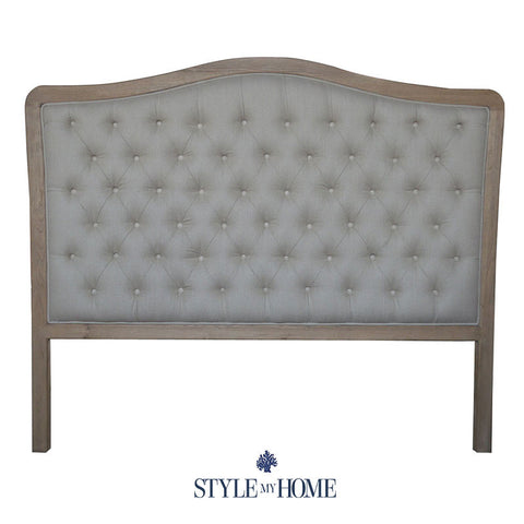 SOPHIA Linen & Oak Upholstered Bed Head by Style My Home Sydney Australia Hamptons French Country