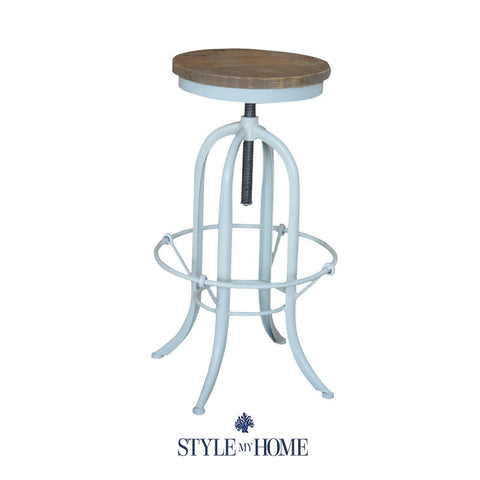 XAVIER Black Oak & Steel Bar Stool with Back Rest Style My Home Australia Sydney Industrial