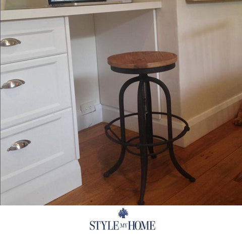 XAVIER Black Oak & Steel Bar Stool Style My Home Australia Sydney Industrial