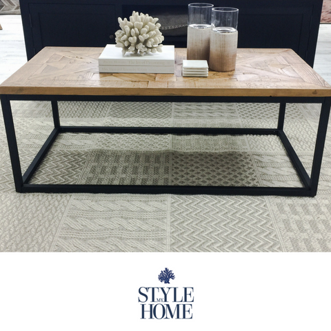 'FRANKIE' 1.5M Parquet Wood & Metal Rectangle Coffee Table