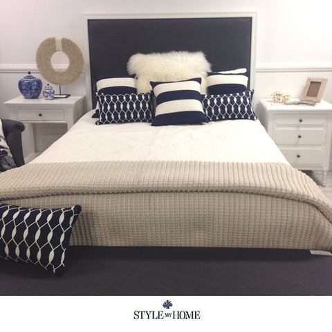 hamptons style timber charcoal bed head