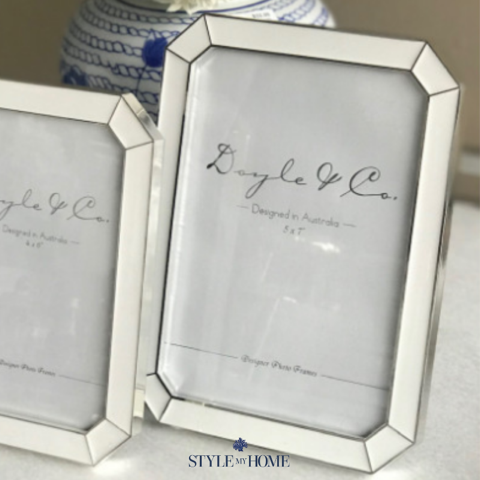 picture frames with white and silver border
