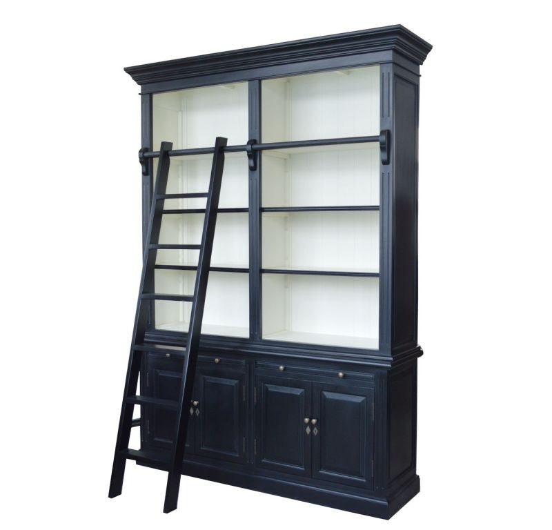 HAMPTONS BOOKCASE LIBRARY WITH LADDER SATIN BLACK SATIN WHITE