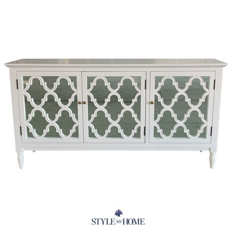 'Brooklyn' Mirrored White Buffet -Large
