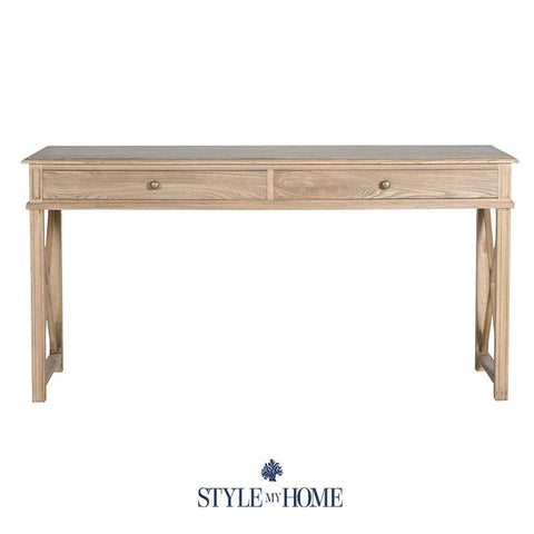Oak HAMPTONS DESK WITH classic cross legs with shaker carving. 2 DRAWERS. Style My Home Australia