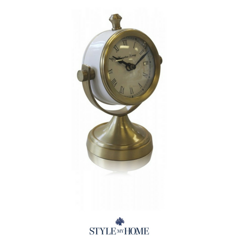 Hampton Living Clock On Stand  - Gold or Silver