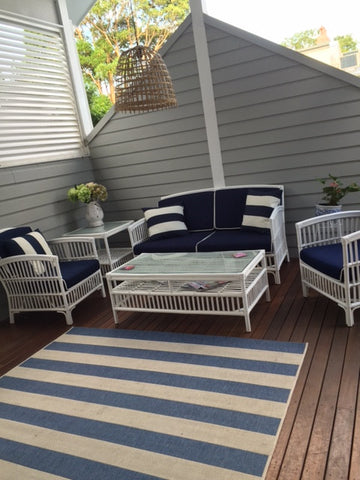 SOUTH HAMPTON Blue Outdoor Undercover Lounge Setting Style My Home Sydney Australia Hamptons Coastal